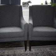 "Lounge suite ""Milano"" 1-seat matching armchair grey fabric"
